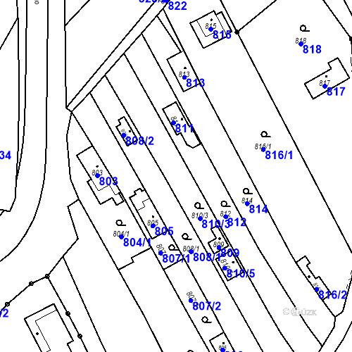 Katastrální mapa Parcela 810/3 na katastrálním území Droždín
