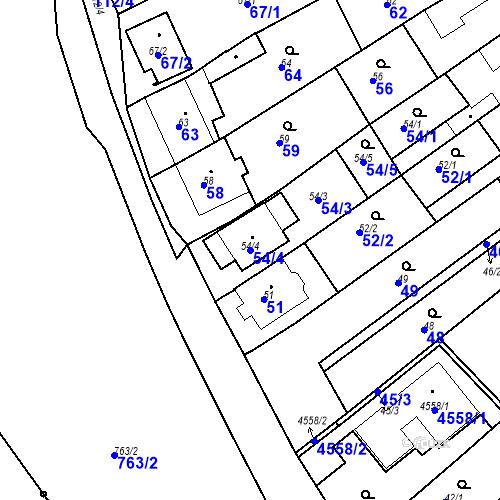 Katastrální mapa Parcela 54/4 na katastrálním území Chylice