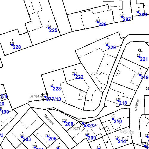 Katastrální mapa Parcela 222 na katastrálním území Bystrovany