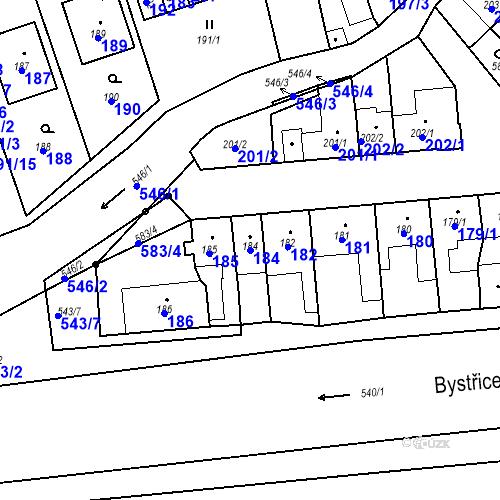 Katastrální mapa Parcela 184 na katastrálním území Bystrovany