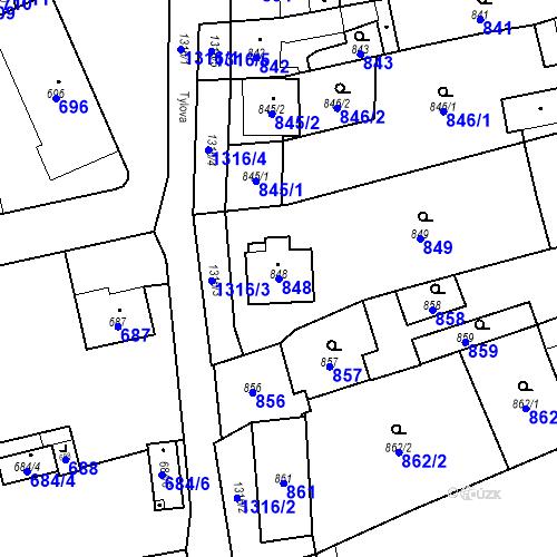 Katastrální mapa Parcela 848 na katastrálním území Brodek u Přerova