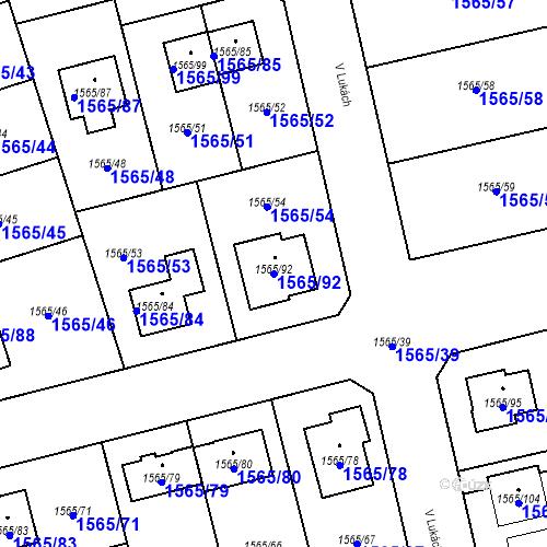 Katastrální mapa Parcela 1565/92 na katastrálním území Horka nad Moravou