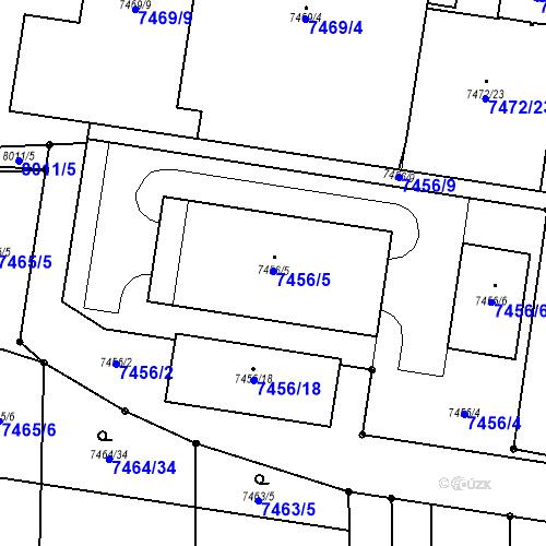 Katastrální mapa Parcela 7456/5 na katastrálním území Prostějov