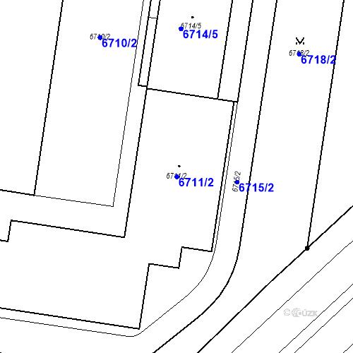 Katastrální mapa Parcela 6711/2 na katastrálním území Prostějov
