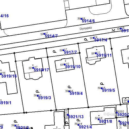 Katastrální mapa Parcela 5919/10 na katastrálním území Prostějov