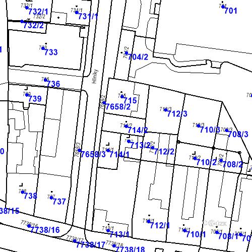 Katastrální mapa Parcela 714/2 na katastrálním území Prostějov