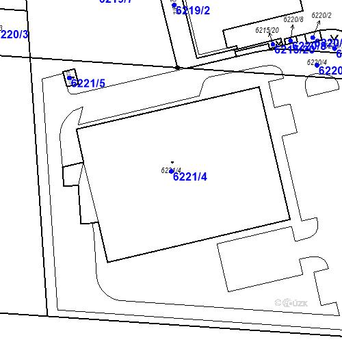 Katastrální mapa Parcela 6221/4 na katastrálním území Prostějov