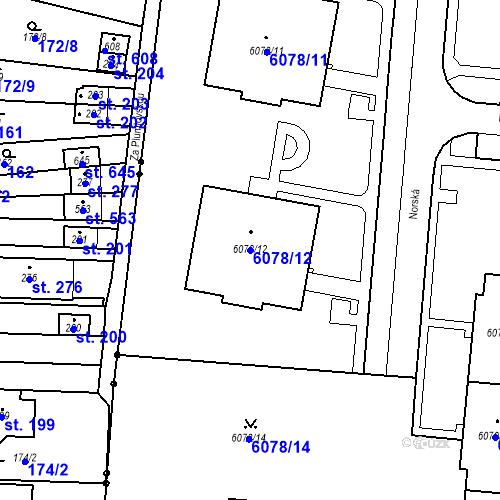 Katastrální mapa Parcela 6078/12 na katastrálním území Prostějov