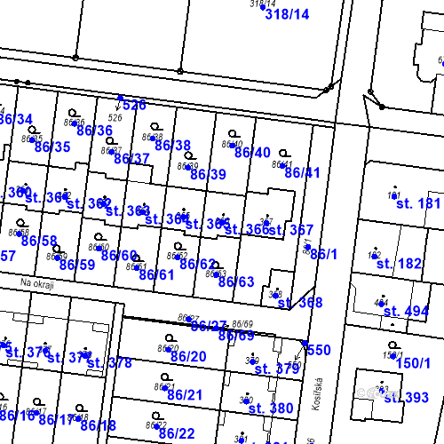 Katastrální mapa Parcela 366 na katastrálním území Krasice