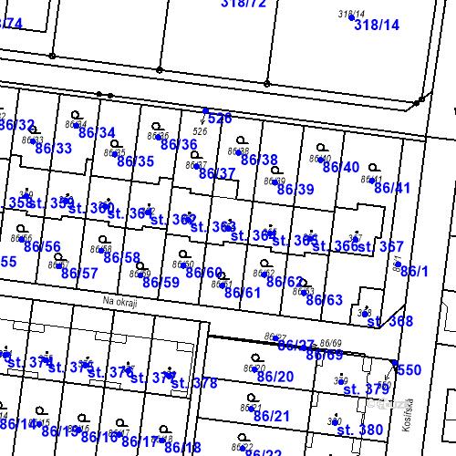 Katastrální mapa Parcela 364 na katastrálním území Krasice