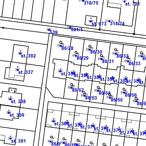 Katastrální mapa Parcela 355 na katastrálním území Krasice