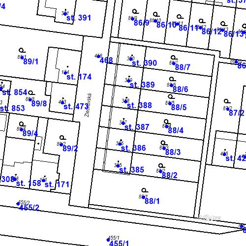 Katastrální mapa Parcela 387 na katastrálním území Krasice