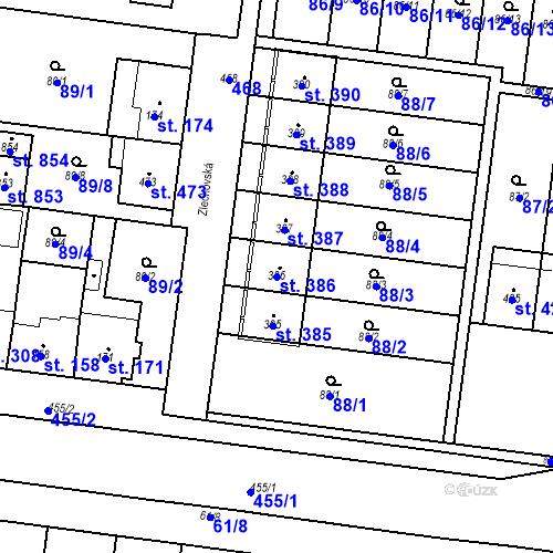 Katastrální mapa Parcela 386 na katastrálním území Krasice