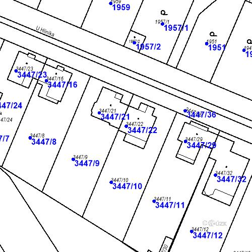 Katastrální mapa Parcela 3447/22 na katastrálním území Ratíškovice