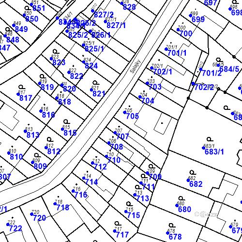 Katastrální mapa Parcela 706 na katastrálním území Brodek u Prostějova