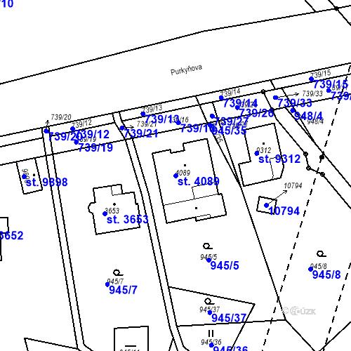 Katastrální mapa Parcela 4089 na katastrálním území Hodonín