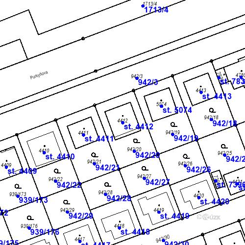 Katastrální mapa Parcela 4412 na katastrálním území Hodonín