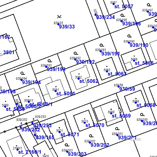 Katastrální mapa Parcela 5062 na katastrálním území Hodonín