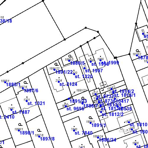 Katastrální mapa Parcela 1320 na katastrálním území Hodonín