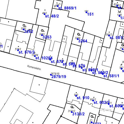 Katastrální mapa Parcela 578 na katastrálním území Hodonín