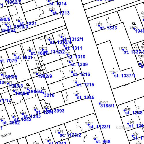 Katastrální mapa Parcela 1216 na katastrálním území Hodonín