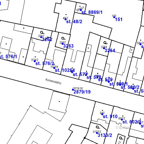 Katastrální mapa Parcela 577 na katastrálním území Hodonín