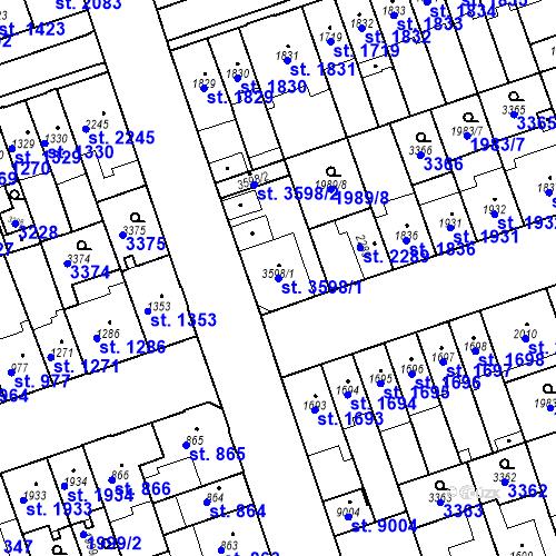 Katastrální mapa Parcela 3598/1 na katastrálním území Hodonín