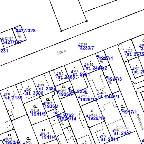 Katastrální mapa Parcela 5961 na katastrálním území Hodonín