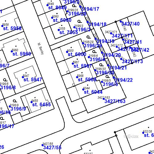 Katastrální mapa Parcela 5968 na katastrálním území Hodonín