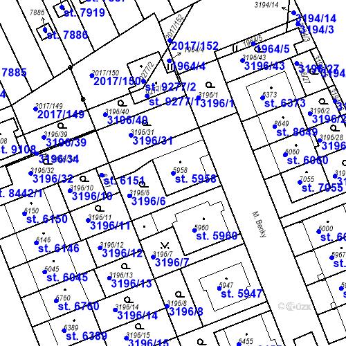 Katastrální mapa Parcela 5958 na katastrálním území Hodonín