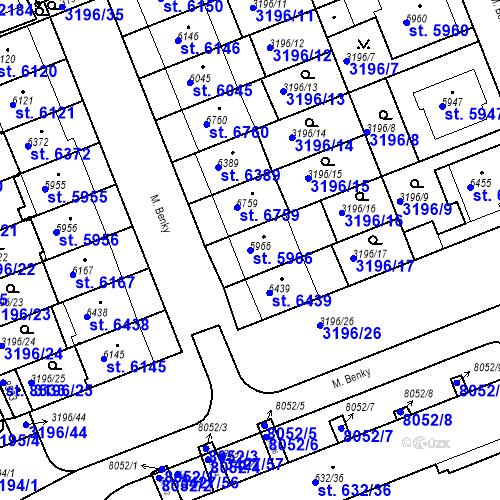 Katastrální mapa Parcela 5966 na katastrálním území Hodonín