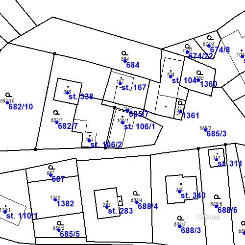 Katastrální mapa Parcela 106/1 na katastrálním území Laškov