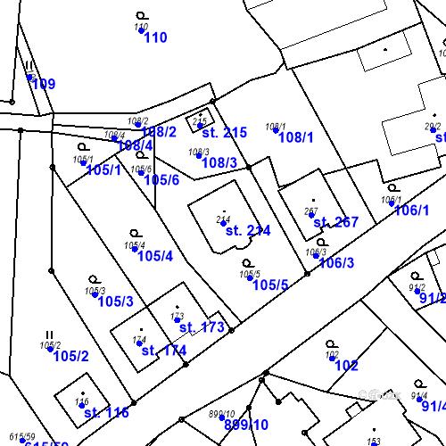Katastrální mapa Parcela 214 na katastrálním území Luká