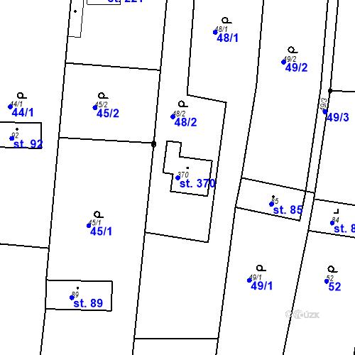 Katastrální mapa Parcela 370 na katastrálním území Vícov