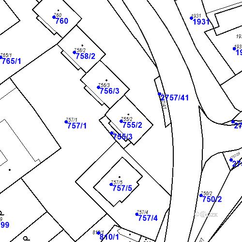 Katastrální mapa Parcela 755/2 na katastrálním území Bučovice