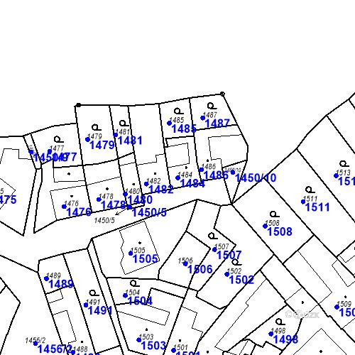 Katastrální mapa Parcela 1484 na katastrálním území Bučovice