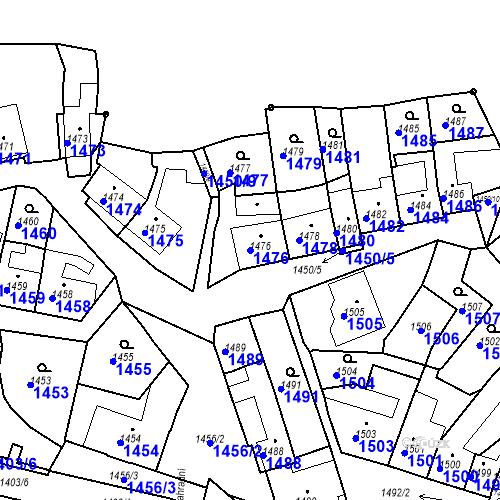 Katastrální mapa Parcela 1476 na katastrálním území Bučovice