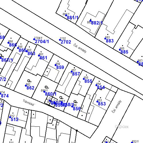 Katastrální mapa Parcela 857 na katastrálním území Bučovice