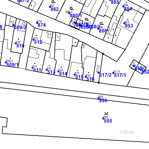 Katastrální mapa Parcela 515 na katastrálním území Bučovice