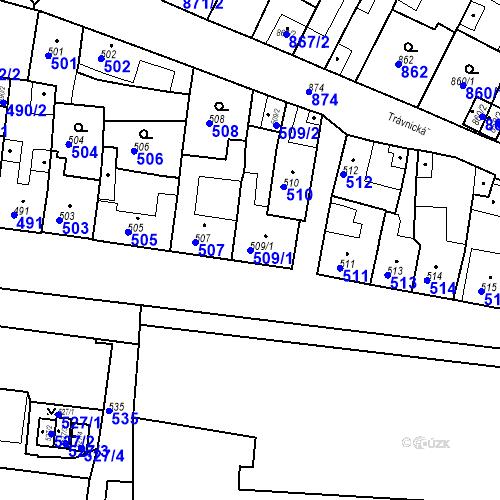 Katastrální mapa Parcela 509/1 na katastrálním území Bučovice