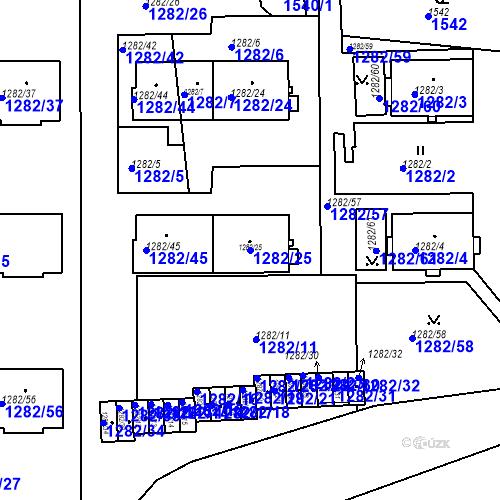 Katastrální mapa Parcela 1282/25 na katastrálním území Bučovice