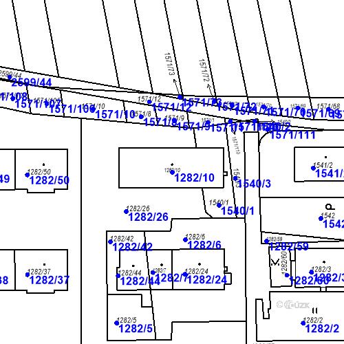 Katastrální mapa Parcela 1282/10 na katastrálním území Bučovice