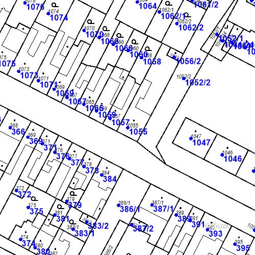 Katastrální mapa Parcela 1055 na katastrálním území Bučovice