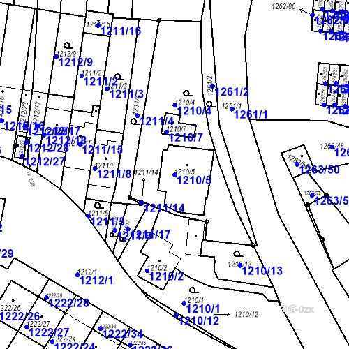 Katastrální mapa Parcela 1210/5 na katastrálním území Bučovice