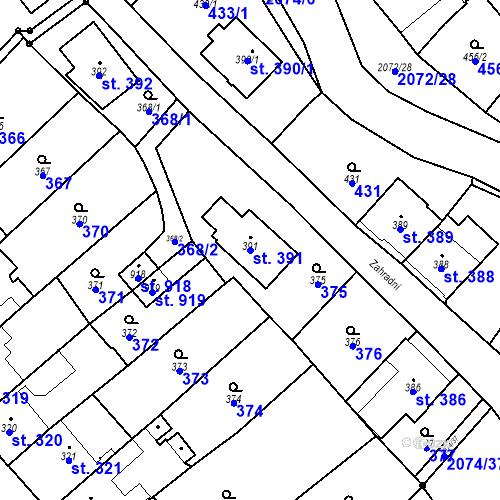 Katastrální mapa Parcela 391 na katastrálním území Králíky