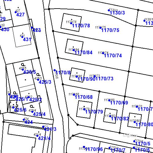 Katastrální mapa Parcela 1170/90 na katastrálním území Heršpice