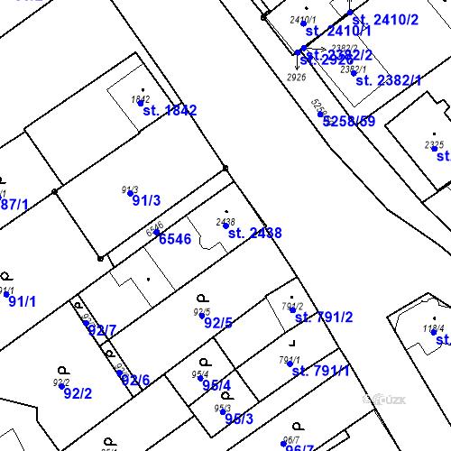 Katastrální mapa Parcela 2438 na katastrálním území Velké Bílovice