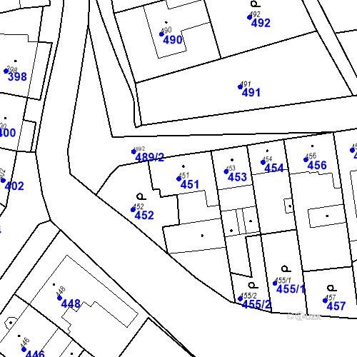Katastrální mapa Parcela 451 na katastrálním území Bošovice