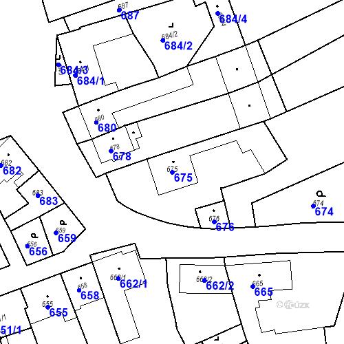 Katastrální mapa Parcela 675 na katastrálním území Bošovice