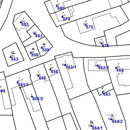 Katastrální mapa Parcela 662/1 na katastrálním území Bošovice